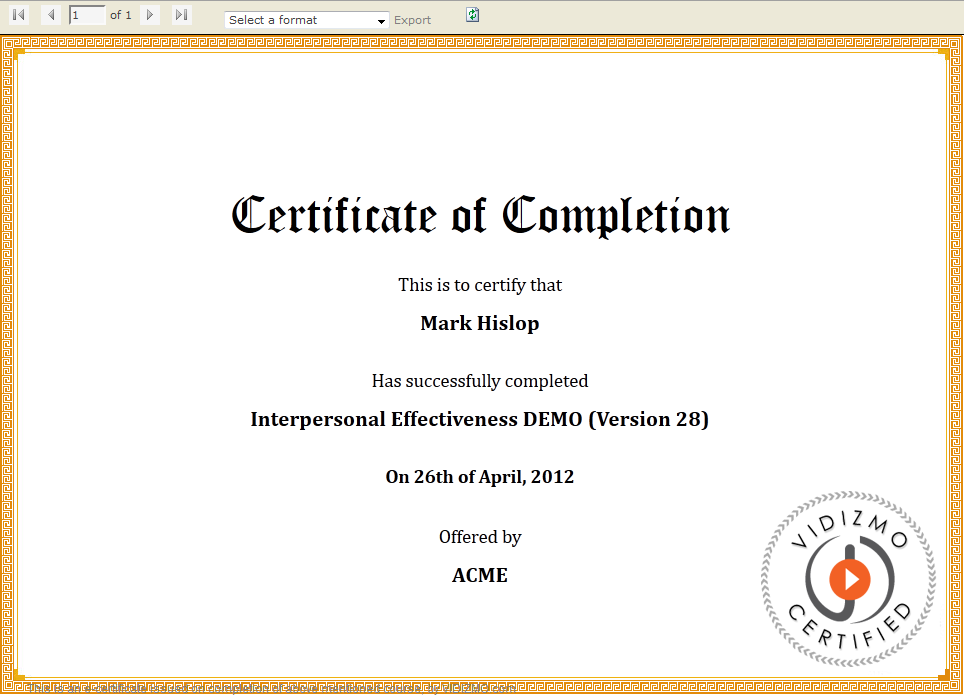 examples of certificates of completion